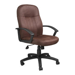 """BOSS Chair - Mid-Back Office Chair In Brown Microfiber w L - Does your office reflect your personality? This stunning swivel chair helps you make a design statement in your office while retaining a credible, professional look. Tastefully upholstered in brown microfiber, this durable office chair with a sturdy, black frame provides excellent lumbar support and can be adjusted to a height and tilt position that you are most comfortable working in. Passive ergonomic seating with built in lumber support. Upright locking position. Pneumatic seat height adjustment. Adjustable tilt tension control. Large 27"""" nylon base for greater stability. Hooded double wheel casters bomber brown microfiber. Cushion color: Brown. Base/wood: Black. Seat size: 20 in. W x 19 in. D. Seat height: 18 in. -21.5 in. H. Arm height: 25 in. -28.5 in. H. Overall dimension: 27 in. W x 27 in. D x 40.5-44 in. H. Weight capacity: 250 lbs"""