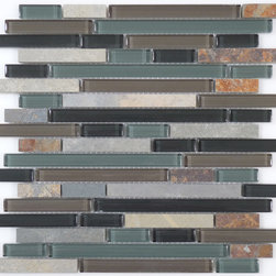 Euro Glass - Forest Floor Random Bricks Green Backsplash Glossy & Unpolished Glass and Slate - Customize your hardest working surfaces with our Slate series. Choose from many patterns and an array of colors in honed and cleft finishes.