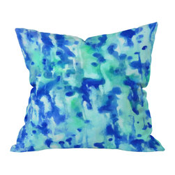 DENY Designs - Rosie Brown Blue On Blue Outdoor Throw Pillow, 16x16x4 - Do you hear that noise? It's your outdoor area begging for a facelift and what better way to turn up the chic than with our outdoor throw pillow collection? Made from water and mildew proof woven polyester, our indoor/outdoor throw pillow is the perfect way to add some vibrance and character to your boring outdoor furniture while giving the rain a run for It's money.