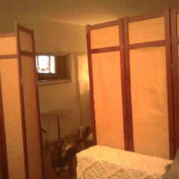 Room Dividers, Folding Screens, Partitions, Decorative Screens, Room Separators - This photo was taken from inside the alcove in front of the bed. As you can see the divider on the left acts as a swinging door.