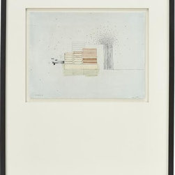 Stacks 4 Print - This intriguing drawing is part of series Julie S. Graham created in response to the view outside her studio. Maintaining a studio in an industrial area of Boston, Graham became fascinated with the contrast between the organic forms found in nature and the geometric order of the manmade environment. In her delicately sketched and subtly colored drawing, she situates an orderly stacks of ovals and rectangles next to an explosion of tiny, randomly dispersed dots. Each gicl�e reproduction of the original is presented in a double white mat and framed in a clean matte black wood frame.