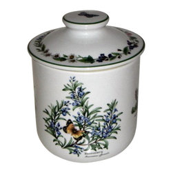 Royal Worcester - Royal Worcester Herbs Green Trim Canister W/Lid Rosemary - Royal Worcester Herbs Green Trim Canister W/Lid Rosemary