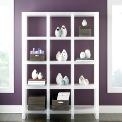 Ladoro Display Cubes - Simple and understated, this piece would look fantastic if used to separate a kitchen and living area in a studio apartment — not to mention, it adds a bit of extra storage space for some basic food supplies. I can see the basics (flours, sugars, rices, pastas) looking sharp in containers on those shelves.