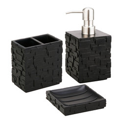 Jovi Home - Jovi Home Vista Bath Accessory 3-piece Set - Give your bathroom a sleek look with this three-piece bath accessory set from Jovi Home. The contemporary black set is made of durable polyresin. It includes a soap dish,a lotion dispenser with rust-free chrome finish,and a toothbrush holder.