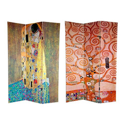 "Oriental Unlimted - Double Sided 6 ft.The Kiss & Tree of Life 3 P - One double-sided divider, both sides shown in image. This screen features 2 works from the world's most famous bohemian. Gustav Klimt is revered by many as the most important of the ""post-impressionist"" painters. These prints are considered to be 2 of his most beautiful pieces of fine art. Ripe with symbolism, the center section of the Tree of Life, circa 1909, is the front image. On the back is the equally powerful, The Kiss, circa 1907-1908. Both sides are fine quality reproductions of 2 of Klimt's most engaging and compelling artistic masterpieces. This 3 panel screen has different images on each side. High quality wood and fabric covered room divider. Well constructed, extra durable, kiln dried Spruce wood frame panels, covered top to bottom, front, back and edges. With tough stretched poly-cotton blend canvas. 2 Extra large, beautiful art prints - printed with fade resistant, high color saturation ink, creating 2 stunning, long lasting, vivid images, powerful visual focal points for any room. Amazingly inexpensive, practical, portable, decorative accessory. Almost entirely opaque, double layer of canvas, providing complete privacy. Easily block light from a bedroom window or doorway. Great home decor accent - for dividing a space, redirecting foot traffic, hiding unsightly areas or equipment, or for providing a background for plants or sculptures, or use to define a cozy, attractive spot for table and chairs in a larger room. Assembly required. 15.75 in. W x 70.88 in. H (each panel)"