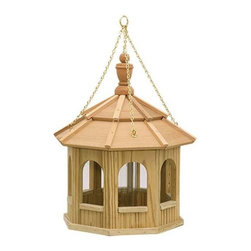 Fifthroom - Greyfield Small Hanging Gazebo Birdfeeder - When you put a gazebo in your backyard, you're giving yourself a personal haven where you can go to relax and escape the cares of the day.  When you put our Greyfield Hanging Gazebo Birdfeeder in your backyard, you're giving the birds a sanctuary that will keep their days care-free, even in winter when food is scarce.  In return, they'll provide you with endless backyard entertainment, as they perform a wide variety of songs, dances, and amusing aerial stunts.