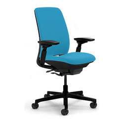 Steelcase - Steelcase Amia Task Chair, Black Base w/Arm & Soft Casters, Blue Jay - Looking for a more comfortable work situation? This task chair offers you a unique ergonomic support system that helps the chair flex as you move throughout the day. It also adjusts seat and back positions, offers you a brilliant portfolio of colors to choose from, and soft casters which are perfect for hardwood floors.
