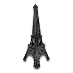 Zeckos - Verdigris Cast Iron Eiffel Tower Tea Light Candle Holder 14.5 In. - This cast iron Eiffel tower tea light candle holder adds a decorative accent to your home, porch, or patio. It measures 14 1/2 inches tall, 5 1/2 inches wide, 5 1/2 inches deep and it has a lovely verdigris patina for an antique look. Use battery operated tea light candles for worry-free, kid-friendly accent lighting (not included). This piece makes a cute gift for the worldly traveler that is sure to be admired.