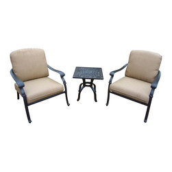 Oakland Living - 3-Pc Traditional Chat Set - Include one side table and two cushioned chairs. Metal hardware. Fade, chip and crack resistant. Warranty: One year limited. Made from rust free aluminum. Antique bronze hardened powder coat finish. Minimal assembly required. Chair: 29.7 in. W x 29.7 in. D x 36.4 in. H (20.7 lbs.). End table: 21 in. W x 21 in. D x 21.5 in. H (18 lbs.). Overall weight: 80 lbs.This Deep Sitting 3 pc. Chat set is the perfect pieces for any outdoor dinner setting. Just the right size for any backyard or patio. The Oakland Hampton Collection combines practical designs and modern style giving you a rich addition to any outdoor setting. The artistic pattern work is crisp and stylish. Each piece is hand cast and finished for the highest quality possible.
