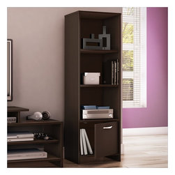 South Shore - South Shore Step One Shelf Bookcase in Chocolate - South Shore - Bookcases - 3159652 - With its contemporary style and straight lines this versatile all-purpose shelf bookcase from the Step One collection will blend perfectly with the other furniture in your room. It can perform multiple functions - as the ideal media tower for holding your DVDs and game console, or simply as a handy bookcase. This piece features three open storage spaces, separated by two adjustable shelves, and a closed storage space at the bottom, so you�ll have a neat, well-ordered room.