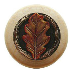 "Inviting Home - Oak Leaf Natural Wood Knob (unfinished with hand-tinted brass) - Oak Leaf Natural Wood Knob unfinished with hand-cast hand-tinted brass insert; 1-1/2"" diameter Product Specification: Made in the USA. Fine-art foundry hand-pours and hand finished hardware knobs and pulls using Old World methods. Lifetime guaranteed against flaws in craftsmanship. Exceptional clarity of details and depth of relief. All knobs and pulls are hand cast from solid fine pewter or solid bronze. The term antique refers to special methods of treating metal so there is contrast between relief and recessed areas. Knobs and Pulls are lacquered to protect the finish. Alternate finishes are available."