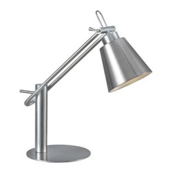 Kenroy - Kenroy-32004BS-Nelson - One Light Desk Lamp - The classic extended head desk lamp gets a modern, architectural feel with the addition of a Brushed Steel finish and a flat base.