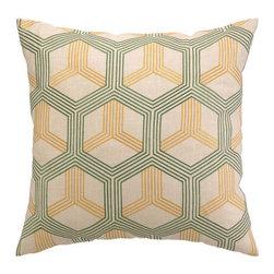 "Peking Handicraft Inc. - D.L. Rhein Boomerang Green/Sunshine Embroidered Pillow 20"" x 20"" - ""DF 20X20"""" 100% RAMIE"""