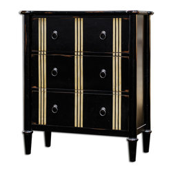 Uttermost - Somerville Black 3 Drawer Chest - Carved Mahogany Solids In Worn, Jet Black Finish With Cream Accents On Dovetail Drawers With Antiqued Brass Hardware.