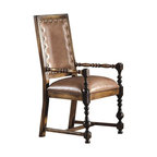 Hekman Furniture - Castilian Leather Arm Chair - Set of 2 - Set of 2. Standard in brown leather seat and back. Teak wood. Turned legs. Warranty: One year. Made from select hardwood solids and veneers. Heavily distressed castilian finish. Seat width: 20 in.. Seat depth: 18.5 in.. Seat height: 19.5 in.. Arm height: 26 in.. 24 in. W x 25 in. D x 44 in. H