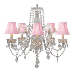 The Gallery - Crystal chandelier Lighting with Pink Shades - 100% crystal chandelier. Nothing is quite as elegant as the fine crystal chandeliers that gave sparkle to brilliant evenings at palaces and manor houses across Europe. This beautiful chandelier is decorated with 100% crystal that captures and reflects the light of the candle bulbs, each resting in a scalloped bob ache. The crystal arms of this wonderful chandelier give it a look of timeless elegance that is sure to lend a special atmosphere in any home.