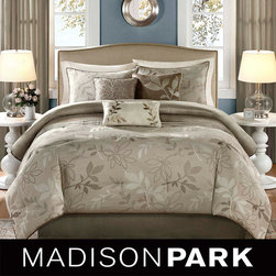 Madison Park - Madison Park 'Nadia' 7-piece Comforter Set - Update your bedroom with this chic seven-piece comforter set. This set with jacquard leaf motif includes a comforter, bedskirt, two shams, and three decorative pillows. Make over your sleeping area easily with this beautiful new bedroom set.
