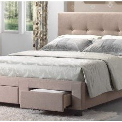 Sydney Upholstered Storage Bed - Cafe Linen