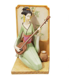 EttansPalace - Japanese Geisha Musical Court Sculpture - Celebrate the exotic music that once filled the Imperial palaces of Japan. The beautiful Oriental geisha figurines in these museum-quality sculpts elegantly finger instruments with a rich history in ancient Japan The shamisen, a three-stringed lute, and its companion, the 13-stringed koto. Sculpted with details from obi-wrapped waists to elegant hair pins, these works of decorative art are cast in quality designer resin and hand-painted in a soft, pastel palette as finely collectible sculptures.