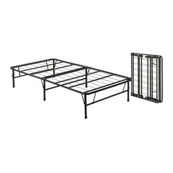 Pragma - Bi-Fold Folding Metal Bed Frame (Queen) - Choose Size: Queen. Overnight guests will sleep comfortably in your home with this bi-fold metal bed frame, a durable, versatile frame that is designed to be used without a box spring. The frame can be taken down or put up in seconds, and is available in your choice of sizes. Strong yet lightweight design. Bases do not require box spring. Maximum User Weight Twin: 1200 lbs.. Maximum User Weight King: 2400 lbs.. Made of metal. No assembly required. 3 Year Manufacturer WarrantyTwin Size Dimensions. Open: 75 in L x 39 in. W x 14 in. H. Folded: 37.75 in. L x 39.5 in. W x 2.75 in. HFull Size Dimensions. Open: 75 in L x 54 in. W x 14 in. H. Folded: 37.75 in. L x 27.25 in. W x 5.5 in. HQueen Size Dimensions. Open: 80 in L x 60 in. W x 14 in. H. Folded: 40.25 in. L x 30.25 in. W x 5.5 in. HKing Size Dimensions. Open: 80 in L x 76 in. W x 14 in. H. Folded: 40.25 in. L x 38.25 in. W x 5.5 in. HThe Pragma Bed frame is engineered to provide maximum comfort during your most relaxing hours of the day and versatile enough to be folded in under 15 seconds. They can then be stored in a bed or closet since a twin-sized Pragma Bed frame only requires 39.5 in. x 21.75 in. x 5.25 in. of storage space. The Pragma Bed base provides you with more space than many other beds out there. It sits 14 in. off the ground creating 21.875 cubic feet of storage space per twin bed frame. Think of what you can do with all that additional space.