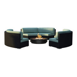 Harmonia Living - Urbana Eclipse 3 Piece Round Sectional Set, Spa Cushions - Is your outdoor fire pit just begging for the perfect surrounding seats? This cushy, durable wicker sectional with Sunbrella® cushions will make your patio the most popular one in town. Also looks great around a circular table.