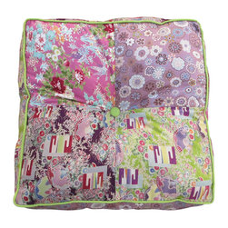 Garden Candy - Square Patchwork Floor Cushion, Green Piping - Garden Candy's Square Patchwork Floor Cushion can be used as a one-of-a-kind pillow or as a comfy, stylish floor cushion.  This pastel design is especially cute as a sit-upon for the young ladies in your life as they work on their latest craft trends or read a great book.