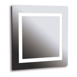 """Kenroy Home - Rifletta  Vanity Mirror - The Rifletta Collection is full of beautiful vanity mirrors waiting to adorn your home with sleek lighting. The vanity mirror is contemporarily constructed with modern design and will mount perfectly anywhere to provide you with absolute beauty. Lights and a mirror in one, Rifletta sits flush with just a 2 inch extension from the wall offering maximum surface in minimal space. Contemporary and brilliantly lit, this functional design element is available in 3 sleek configurations. Features: -4 light vanity mirror. -Rifletta Collection. -Includes 4 x 40watt (2g11) bulbs. -Must be hardwired. -UL Listed. -Overall dimensions: 28""""H x 28""""W x 2""""Ext.."""