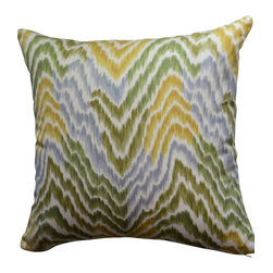 KH Window Fashions, Inc. - Flamestitch Pillow- Gold, Yellow, Green and Grey, With Insert - Flamestitch pillow in gold, yellow, green and grey. Perfect to toss on your bed or sofa.
