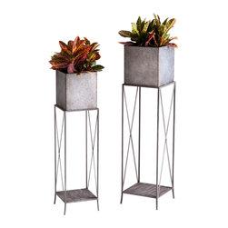 Cyan Design - Newton Planters - Newton planters - rustic iron