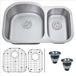 Ruvati - Ruvati RVM4400 Under mount Kitchen Sink - With gentle, curved edges and rear-placed drains, the Varna series will keep your kitchen a very happy place. Each Varna sink features bottom rinse grids to protects your sink and basket strainers to trap items that may clog your drain