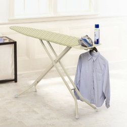 Home Products - Premium 4 Leg Ironing Board - HOMZ Premium Blue Heavy Duty 4-Leg mesh top ironing board for improved steam flow and stability. Includes a removable iron rest/shirt hanger which slides in for storage. The patented leg lock insures easy transport while fully variable height adjustments to 40-inch for any comfort. Made in USA.