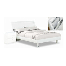 Global Furniture - Emily Platform Bed - White - 23433B - The Emily Platform Bed by Global Furniture has a beautiful modern design. This platform bed is able to support a mattress without the use of a box spring, although can accommodate one if desired. The Finish is available in Cherry, Wenge, and White.
