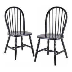 Winsome Wood - Winsome Wood Windsor Dining Chairs (2 Pack) with Black Finish X-73292 - Quality built Windsor chair.  Solid wood construction and all assembled.   Carved Leg.  Smooth Contour seat gives extra comfy.