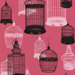 Beacon House - Avian Pink Bird Cages Wallpaper - A little bird told us you'd find this paper appealing. The vintage cage motif on a rich rose-pink background adds a fanciful touch to your favorite eclectic setting.