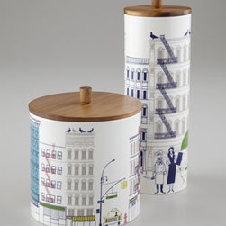 "kate spade new york - kate spade new york ""About Town"" Canisters - Wherever you use them, these canisters bring a whimsically urban attitude to storage. From kate spade new york. Made of porcelain and wood. Canisters are dishwasher and microwave safe; hand wash wooden lids. Large canister, 6.5""Dia. x 6.25""T. Tall...."