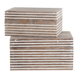 Trinity Small Boxes - Linear patterning with a poetically rustic and worn effect makes a traditional addition to charming beach-house d�cor or to worldly themes in uptown homes.  The Trinity Small Boxes, lidded rectangular containers in a distressed whitewash finish, make a bold directional pattern coy and subtle enough for the most understated d�cor while maintaining the horizontality that provides their appeal.