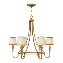 Hinkley Lighting - Morgan 6-Light Ch Chandelier - Morgan is an updated traditional style that conveys both quality and comfort. The minimalist center hoop design creates a sense of openness. Elegant off-white linen shades trimmed in bronze silk combine with crystal ball accents and petite square arms for understated luxury.