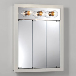 Lighthouse Distribution Corp - Broan-Nutone Granville Tri-View 3-Light 24W x 30H in. Surface Mount Medicine Cab - Shop for Bathroom Cabinets from Hayneedle.com! They say the lights are bright on Broadway but they're nice and bright on the Broan-Nutone Granville Tri-View 3-Light Surface Mount Medicine Cabinet - 24W x 30H in. too! Be the center of attention and see clearly for that delicate morning work. The three-door design makes access easy without a wide-swinging door and three matching Broadway-style lights shine down on you.Behind all those mirrors you'll find two steel shelves and a rust-free wood body built to last with quality doweled joints and easy to clean laminate finish. Choose from Classic White or Honey Oak. This flush mount cabinet needs no wall modifications and mounting hardware is included. Any 60-watt or lower medium base bulb will work but we recommend the clear globe G25/G40 lamps. Dazzling!About Broan-NuToneBroan-NuTone has been leading the industry since 1932 in producing innovative ventilation products and built-in convenience products all backed by superior customer service. Today they're headquartered in Hartford Wisconsin employing more than 3200 people in eight countries. They've become North America's largest producer of medicine cabinets ironing centers door chimes and they're the industry leader for range hoods bath and ventilation fans and heater/fan/light combination units. They are proud that more than 80 percent of their products sold in the United States are designed and manufactured in the U.S. with U.S. and imported parts. Broan-NuTone is dedicated to providing revolutionary products to improve the indoor environment of your home in ways that also help preserve the outdoor environment.