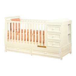 AFG International Furniture - Daphne Athena Convertible Crib - The Daphne 3-in-1 Crib and Changer Combo is a versatile baby station whether you are limited on space or want features such as ample storage space, a changer and crib combined with the ability to convert to a day bed and youth bed as your child grows. The lower two drawers can store bigger items such as blankets and other linens. As your child grows, the Daphne crib converts from a crib to a youth bed and the changing table unit serves a dual function as a standalone nightstand or dresser. Take advantage of this convenient all-purpose baby station that will grow with your family for years to come. Features: -Made from solid pine.-3-in-1: Converts from crib today bed to a youth bed.-2 Cubbies for extra storage.-Fixed level Mattresses height.-Traditional style.-Non-toxic easy care finish.-Daphne collection.-Collection: Daphne.-Distressed: No.Specifications: -5 Drawers for ample storage.Dimensions: -41'' H x 72'' W x 30'' D, 126 lbs.-Overall Product Weight: 126 lbs.