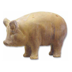 Orlandi Statuary - Primitive Pig Garden Statue Multicolor - F6802PIGSTANDING - Shop for Statues and Sculptures from Hayneedle.com! The Primitive Pig Garden Statue has been an important part of society since their domestication. Cast in fiberglass resin to be lightweight and weather-resistant this statue features a non-peeling finish designed to withstand years of elemental wear. Blend this pig statue nicely with your other garden items. Inspired by ancient design this beautiful pig statue pays tribute to that history. Carefully detailed this piece has a stylized body and subtle face that is naturally appealing to pig and art lovers alike.About Orlandi StatuaryBorn in 1911 when Egisto Orlandi traveled from Lucca Italy to Chicago Illinois Orlandi Statuary quickly set the standard for excellence in their industry. Egisto took great pride in his craft and reputation and which is why artists interior designers and museums relied upon the careful details and impeccable quality he demanded. Over the years they've evolved into a company supplying more than statuary. Orlandi's many collections today include fiber stone for the garden religious statuary fountains columns and pedestals. Their factory and showroom are still proudly located in Chicago where after 100 years they remain an industry icon.