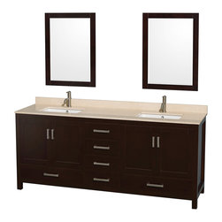 """Wyndham Collection - Sheffield 80"""" Espresso Double Vanity, Ivory Marble Top & Undermount Square Sink - Distinctive styling and elegant lines come together to form a complete range of modern classics in the Sheffield Bathroom Vanity collection. Inspired by well established American standards and crafted without compromise, these vanities are designed to complement any decor, from traditional to minimalist modern. Available in multiple sizes and finishes."""