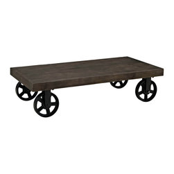 Garrison Wood Top Coffee Table - Shield your gatherings with a stalwart coffee table positioned on four immobile metal wheel casters. Made from a solid pine wood top, Garrison defends industrial modern designs, while emboldening your room with a conceptually rich and authentic offering. Perfect for aesthetically rustic spaces.