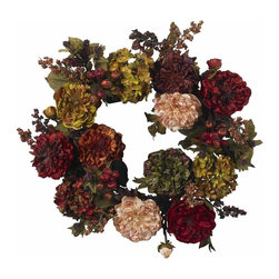 """Nearly Natural - 22 in. Autumn Hydrangea Peony Wreath - Bursting with Autumn's finest shades. Sure to make a statement. Will look great for years to come. Construction Material: Polyester material, Iron wire. 22 in. W x NA in. D x 22 in. H ( 2 lbs. )When most people think of fall, many forget the Hydrangea and Peony. Luckily, we haven't, and to prove it, we've created one of our most stunning offerings - this beautiful 22"""" Hydrangea Peony Wreath. Arguably one of our most colorful wreaths, this wreath is bursting with the fullness and timeless beauty of these two classic flowers, hued in Autumn's finest shades. It's a magnificent piece that will look lovely in any home."""