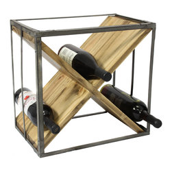 ecWorld - Urban Designs Square Natural Wood and Metal X-Shape Wine Rack - This charming wood wine rack is designed to be placed right on the tabletop or kitchen counter. Its original design will accent a contemporary or rustic style interior beautifully. Perfect transitional style addition to any room.