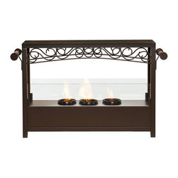 """Southern Enterprises Inc - Southern Enterprises Inc Saratoga Portable Indoor/Outdoor Gel Fireplace - Add this beautiful portable fireplace to your home today for a quick and easy fireplace experience without committing to a full room makeover. This fireplace is ideal for any home in search of a warm, cozy fire for indoor and outdoor use.   This portable gel fireplace offers the warmth and joys of a fireplace without wasting valuable space when not in use. FireGlo Gel Fuel snaps and crackles like real wood for the perfect fireplace experience: replace the gel fuel with decorative pillar candles for year round enjoyment. The patented handle design makes moving the fireplace a breeze.  Convenience and portability are just two of the reasons why this fireplace is perfect for your home. The lovely, scrollwork design works well in traditional, transitional, and contemporary homes. It's great for the living room and bedroom, and even adds a warm, romantic touch to the dining room or home office. Move it to your patio to enjoy the warmth and beauty outdoors too!   Please note: Our photos are as accurate as possible, but color discrepancies may occur between the product and your monitor. The handcrafted touch of artisan skill also creates variations in color, size and design: slight differences should be expected.    - 33.25"""" W x 8"""" D x 20"""" H                                                                               - Space beneath fireplace: 2"""" H                                                                         - Matte brown finish with espresso finish handles                                                       - Portable design moves anywhere                                                                        - Holds 3 cans of FireGlo Gel Fuel                                                                      - Provides up to 9000 BTU's of heat output                                                              - Emits no smoke, odor, or ash                """
