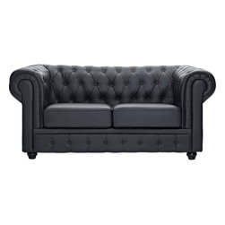 Modway - Chesterfield Loveseat, Black - There is something very recognizable about the Chesterfield Armchair. While fashioned with a tufted back, and large rounded arms, the most distinctive aspect is arguably the deep buttons. Their careful positioning throughout helps portray both an aristocratic and settled feel at the same time. First named in 1900 after the Earl of Chesterfield who commissioned it, recognize the ability to join individual elements as you completely inspire your room.