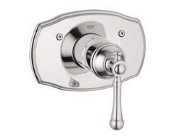 """Grohe - Grohe 19327EN0 Brushed NIckel Bridgeford Bridgeford Thermostatic Valve - Product Features:Fully covered under Grohe s limited lifetime warrantyTrim constructed of brass - ensuring durability and providing aesthetic appealPremier finishing process - finishes will resist rusting and corrosion through every day useGrohe faucets are exclusively engineered in GermanyThe perfect synthesis of form and functionThermostatic valve cartridge with scald guardADA compliantSecure mounting assemblyAll hardware required for installation is includedRough-in valve not included - when adding to cart valve options will be presentedProduct Technologies / Benefits:Starlight Finish: Continuously improving over the last 70 years GroheÂ's unique plating process has been refined to produce and immaculate shiny surface that is recognized as one of the best surface finishes the world over. Grohe plates sub layers of copper and/or nickel to ensure that a completely non-porous, immaculate surface awaits the chrome layer. This deep, even layered chrome surface creates a luminous and mirror like sheen.TurboStat: By increasing the sensitivity to the thermo element and restructuring the internal waterways, our thermostats react up to twice as fast to abrupt changes in water pressure, and are up to nine times more accurate than the leading competitors. The desired temperature is achieved in seconds and is maintained throughout the duration of your shower. The outstanding precision offered by the TurboStat technology also adds to your showers conservation of water.Valve Trim Specifications:Swinging temperature dial provides optimum controlPre-set safety stop with override capabilityEscutcheon (Trim Plate) Diameter: 7-1/2""""Rough-in valve sold separatelyDesigned for use with standard U.S. plumbing connecti"""