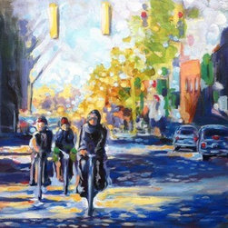 A.M Biking (Original) by Mary Ann  Hagen - Early morning bike ride in the city. This piece moves along the city street with ease. You can almost see the wheels turning