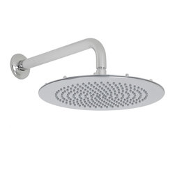 "Hudson Reed - Bathroom 12"" Slim Round Shower Head Rainfall Effect Chrome Overhead & Wall Arm - Add a touch of luxury to your bathroom with this 12"" round shower head and wall mounted arm from Hudson Reed. Featuring a chrome finish and easy to clean nozzles, this high quality shower head delivers a refreshing showering experience."