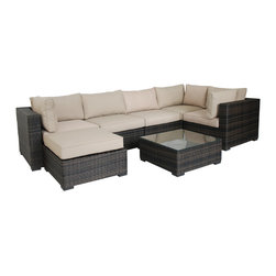 Pier Surplus - 7pc All Weather Wicker Sectional Sofa Set w/ Ottoman & Table #PF80950 - This set is made from all-weather resin wicker, which will not fade, shrink, loose its strength or snap. It also has high resistance against sunlight and water. It has been improved to withstand North American weather.
